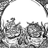 Line art illustration. Scary skull and flowers. Vintage print for St. Valentine s Day. Sketch for tattoo, hipster t-shirt design, vintage style posters. - 167012771