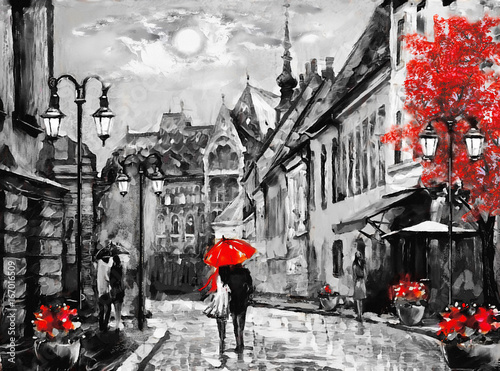oil painting on canvas european city. Hungary. street view of Budapest. Artwork. people under a red umbrella. Tree. Nigrht and moon. - 167016509