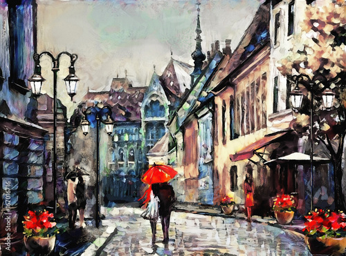 oil painting on canvas european city. Hungary. street view of Budapest. Artwork. people under a red umbrella. Tree.. - 167016716