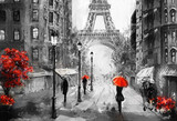 oil painting on canvas, street view of Paris. Artwork. eiffel tower . people under a red umbrella. Tree. France - 167017784