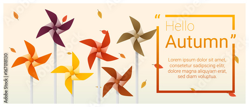 Hello autumn background with colorful pinwheels , vector , illustration