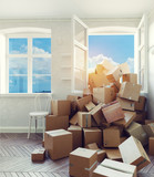 card cardboard boxes in the room - 167033517