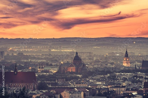 Krakow panorama from Krakus Mound, Poland landscape during sunset.
