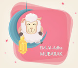 Festival of sacrifice Eid al-Adha. Traditional muslin holiday. Greeting card with funny sheep holding golden lantern and sitting on the moon. - 167041111