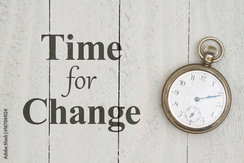 Time for Change message with retro pocket watch