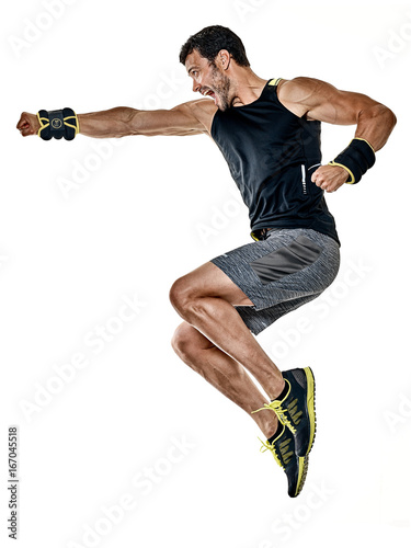 Poster one caucasian fitness man exercising cardio boxing exercises in studio  isolated on white background