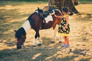 little girl pet pony horse outdoor in park