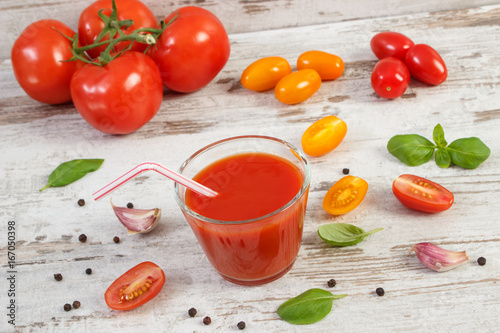 Poster Sap Fresh tomato juice and vegetables with spices, healthy nutrition concept