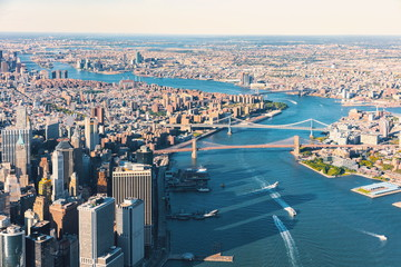 Aerial view of the Lower East Side of Manhattan the Brooklyn and Manhattan bridges