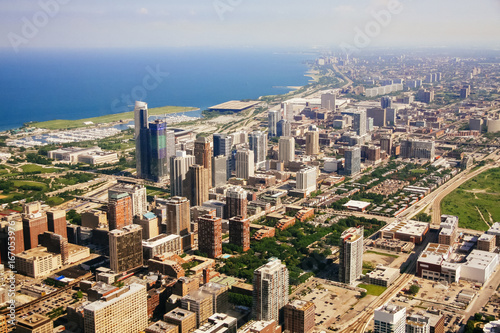 Poster Chicago CHICAGO, USA - 20 July, 2017: Aerial view of Chicago, Illinois.
