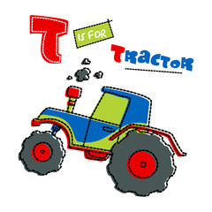 tractor - artwork for children wear in custom colors - separate layer.
