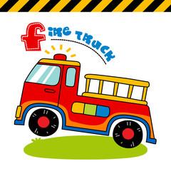 fire truck - vector illustration for children.