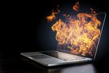 Laptop device damage. Mixed media - 167059707
