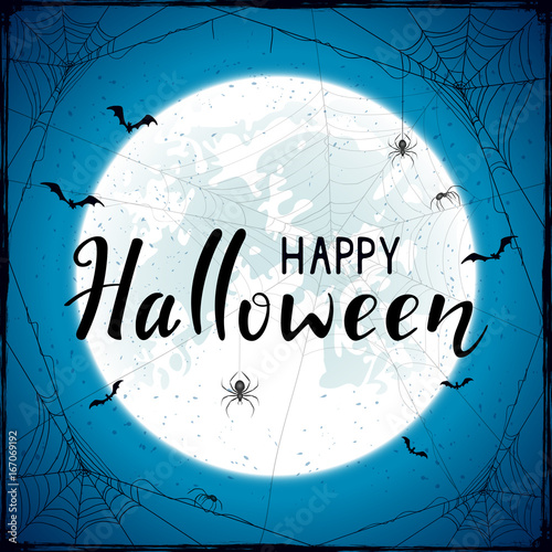Happy Halloween on blue grunge background with Moon and spiders