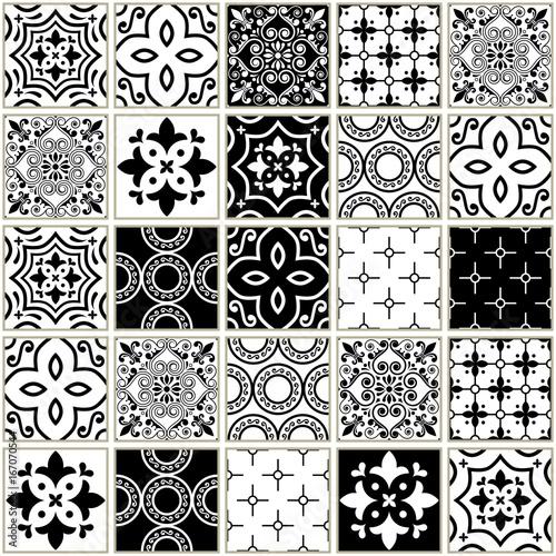 Fototapeta Veector navy blue tiles pattern, Azulejos - Portuguese seamless tile design, monochrome ceramics set