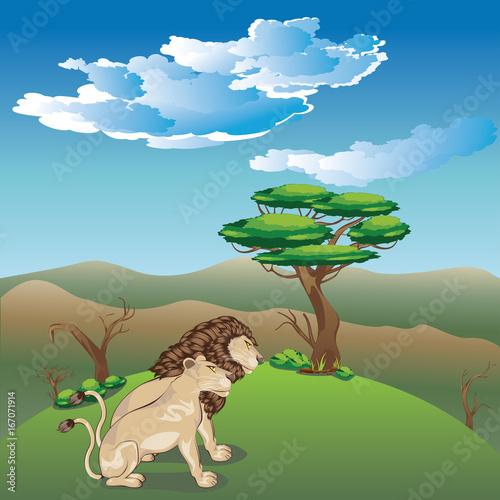 Foto op Plexiglas Pool Landscape with Lions