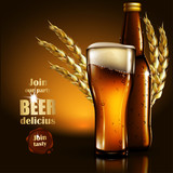 Beer advertising design.  Highly realistic illustration with the effect of transparency.