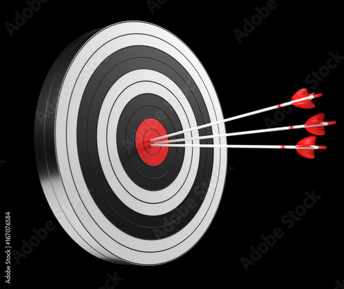 3D rendering target black white and red target with arrows