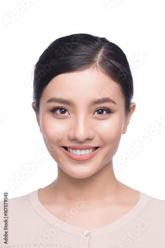 Fototapeta Passport photo of asian female, natural look healthy skin