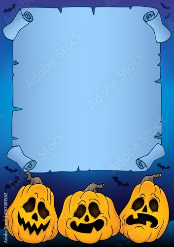 Tuinposter Voor kinderen Parchment with Halloween pumpkins 4