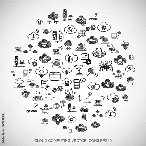 Black doodles Hand Drawn Cloud Technology Icons set on White. EPS10 vector illustration. © Maksim Kabakou
