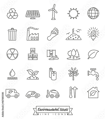 Environmental Issues Line icons set. Collection of Environment and Climate related vector outlined icons