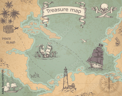 Fototapeta Ancient treasure map