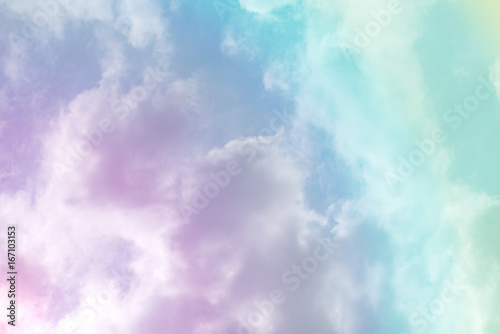 sun and cloud background with a pastel colored- 167103153