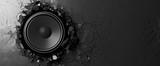 Loudspeaker on a black wall background. 3d illustration - 167105389