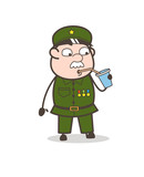 Cartoon Sergeant Drinking Energy Water Vector Illustration - 167105507