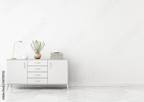 Living room interior with chest of drawers, plant in vase and lamp on empty white wall background. 3D rendering.