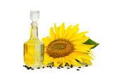 Sunflower and sunflower oil isolated on white background