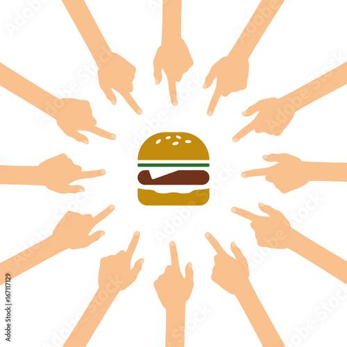 Viele Hände zeigen auf - Burger