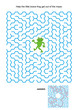Maze game or activity page: Help the little brave frog get out of the maze. Answer included.