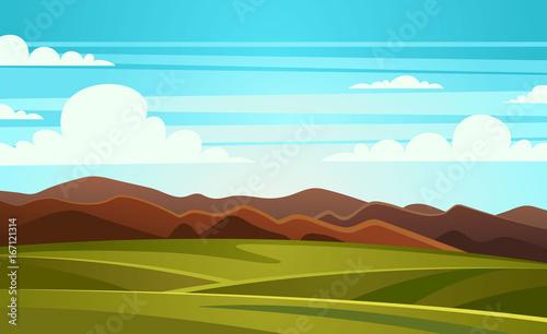 Spoed canvasdoek 2cm dik Turkoois Summer Landscape Mountain Vector Illustration