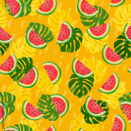 Abstract summer colored seamless patterns With tropical leaves and watermelons - 167130344