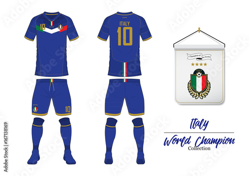 Soccer jersey or football kit in World Championship Collection. Italy football national team. Football logo with house flag. Sport shirt mock up. Front and rear soccer uniform. Vector Illustration.