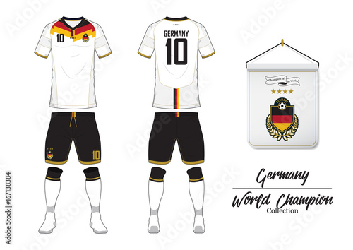 Soccer jersey or football kit in World Championship Collection. Germany football national team. Football logo with house flag. Sport shirt mock up. Front and rear soccer uniform. Vector Illustration.