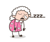 Cartoon Funny Old Lady Running Nose and Sleeping Vector Illustration - 167138986
