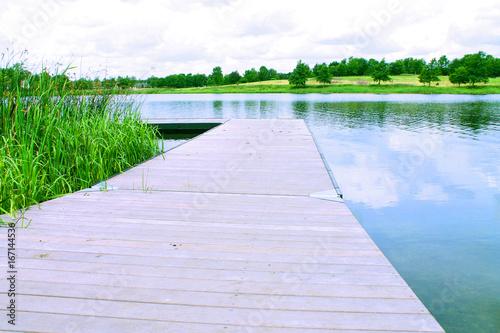 Foto op Aluminium Pier Bridge by a lake