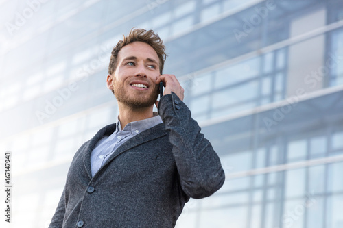 Businessman calling talking on the phone having business negotiation conversation