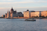 Panoramic of Budapest with Parliament building in the evening.