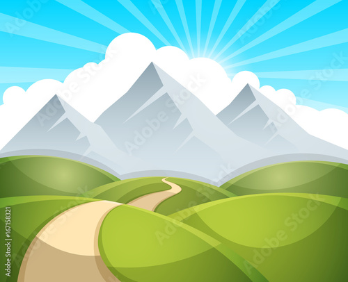 Poster Cartoon landscape illustration. Sun. cloud, mountain hill vector EPS 10