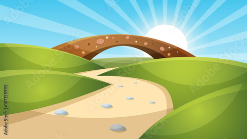 Cartoon landscape illustration. Sun. cloud, mountain hill vector EPS 10