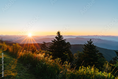 Sunrise over the great smokey mountains