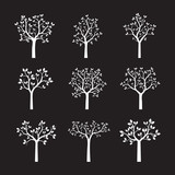 Set of white Trees with Leaves. Vector Illustration.