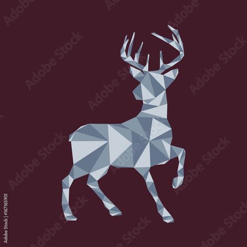 Fotobehang Hipster Hert Rentier Weihnachts-Grußkarte mit Polygon Hintergrund