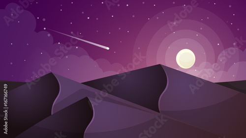Poster Violet moon landscape. Star and mountain. Vector eps 10