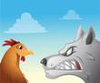 Cartoon vector illustration of a chicken wolf face-off - 167166959