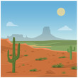 Cartoon vector illustration of a desert scene - 167166980